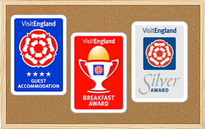 4 star guest accommodation, silver award and breakfast award from Visit Britain