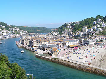 The popular sandy family beach and fishing village of Looe